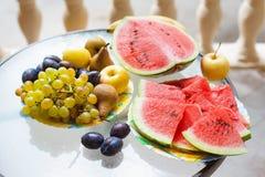 Maträtt med frukt och vattenmelon Royaltyfri Foto