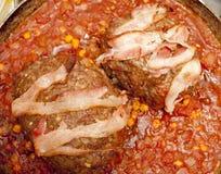 Maträtt med meat royaltyfri fotografi