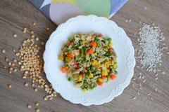 Maträtt med ris och grönsaker Fotografering för Bildbyråer