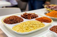 Maträtt med varma kryddor Fotografering för Bildbyråer