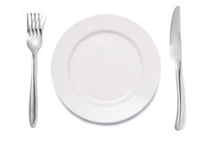 maträttgaffelkniv Arkivfoto