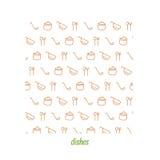 Maträttlinje sömlös modell Hand dragen bakgrund i apelsin vektor Fotografering för Bildbyråer