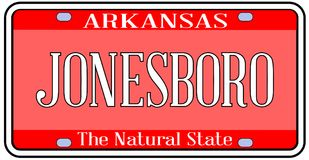 Matrícula do estado de Arkansas com cidade Jonesboro Fotografia de Stock