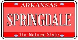 Matrícula do estado de Arkansas com cidade Springdale Imagem de Stock Royalty Free