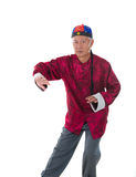 Maître chinois de fu de kung de vieil homme d'isolement sur le blanc Photographie stock