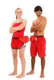 Maître nageurs d'adolescente de fille de garçon dans l'uniforme Images libres de droits