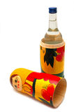 Matreshka. And vodka on a white background Royalty Free Stock Photography