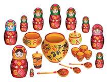 Matreshka And Russian Painted Ware Stock Photography