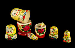 Matreshka_constructor. Russian dolls separated as constructor on black background Stock Image