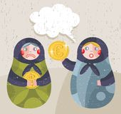 Matreshka docka med ekonominyheter om valuta. stock illustrationer