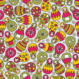 Matreshka doll seamless pattern. Stock Photo