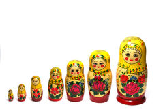 Matreshka line. Matreshka stand in a number on growth Royalty Free Stock Image