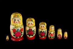 Matreshka_line on black Stock Photos
