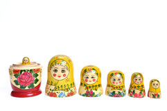 Matreshka line isolated Stock Photography