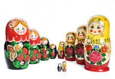 Matreshka line russian doll. Set on white background Royalty Free Stock Photos