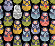 Matreshka russian doll seamless pattern. Stock Images