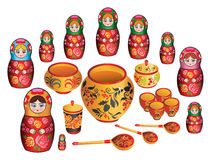 Matreshka  and russian painted ware Stock Photography