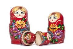 Matreshka russo della bambola isolato su fondo bianco Fotografie Stock Libere da Diritti