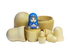 Matreshka Traditional Russian and blanks for painting dolls. Cle. Painted matryoshka. Matryoshka  blue, blanks for painting dolls (clean matryoshka Stock Images