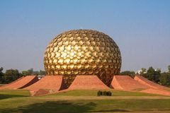 Matri Mandir. The Matrimandir Sanskrit for Temple of The Mother is an edifice of spiritual significance for practitioners of Integral yoga, situated at the Stock Photo