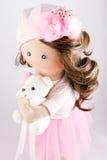 Matéria têxtil da boneca de pano feito a mão com cabelo natural Fotos de Stock