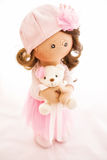 Matéria têxtil da boneca de pano feito a mão com cabelo natural Fotos de Stock Royalty Free