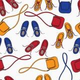 Matrice Colourful delle scarpe e delle borse illustrazione vettoriale