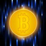 Matrice de Digital de déduire l'argent Peu-pièce de monnaie d'or de crypto abstraction de devise Concept de Bitcoin sur un bleu a Photo stock