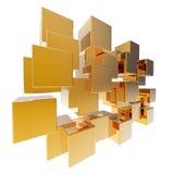 matrice del cubo dell'estratto dell'oro 3d Fotografie Stock Libere da Diritti