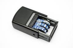 Matrice di plastica della data dell'inchiostro blu Immagine Stock
