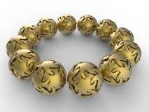 Matrice dorata delle sfere della stella Fotografie Stock Libere da Diritti
