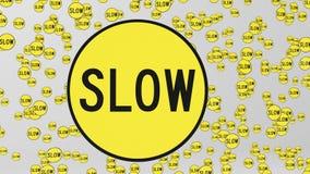Matrice enorme dei segni lenti gialli che galleggiano nello spazio royalty illustrazione gratis