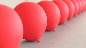Matrice lineare dei palloni rossi su Gray Surface leggero Illustrazione di Stock