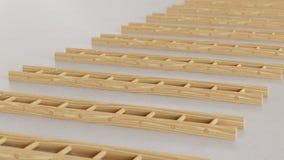 Matrice lineare delle scale di legno su Gray Surface leggero Illustrazione di Stock