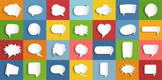 Collection modern vector clouds isolated. Paper chat cartoon bubbles shape and word box for entering text message. Set speech bubb stock illustration