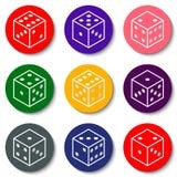 Matrices blanches de casino sur un fond coloré Images libres de droits