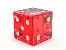 Matrices de jeu en verre rouges d'isolement sur le fond blanc 3d illustration stock