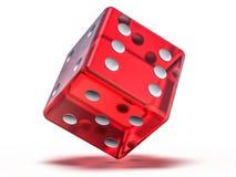 Matrices de jeu en verre rouges d'isolement sur le fond blanc 3d illustration libre de droits