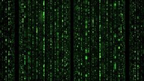 Matrijs van binaire groene coderegen stock footage