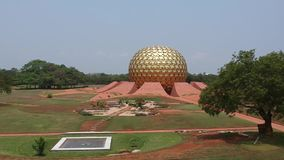 Matrimandir Golden Globe Auroville India stock video footage