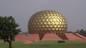 Matrimandir - Golden Temple in Auroville for meditation, India stock video footage