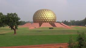 Matrimandir - Golden Temple in Auroville, Tamil Nadu, India stock video footage