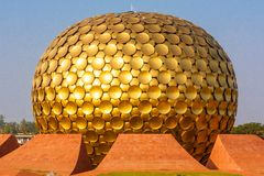 Matri Mandir. The Matrimandir Sanskrit for Temple of The Mother is an edifice of spiritual significance for practitioners of Integral yoga, situated at the Royalty Free Stock Images