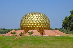 The Matrimandir, situated in the middle of the town, Auroville, Pondicherry, Tamil Nadu, India. Royalty Free Stock Photography