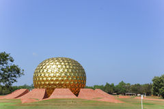 Matrimandir在Auroville 免版税库存图片