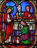 Matrimonio en Cana, Jesus& x27; primer milagro en el evangelio de Juan fotografía de archivo