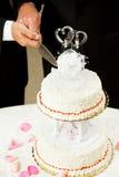 Matrimonio gay - torta di cerimonia nuziale di taglio Fotografie Stock Libere da Diritti