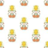 Matrioshka bezszwowy wzór na białym tle Zdjęcia Stock