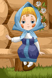 Girl Matrioshka character cartoon style  illustration Royalty Free Stock Photography
