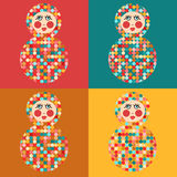 Matrioshka,seamless background with Russian dolls Stock Image
